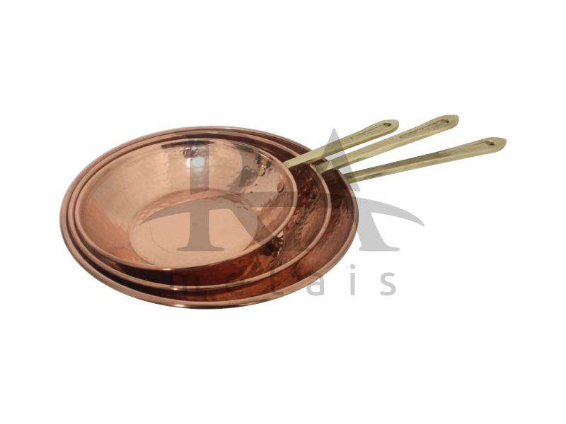 Frigideira nº 1 em cobre puro com cabos em liga de bronze