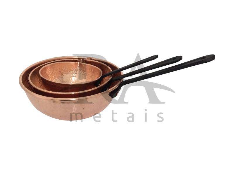 Japi em cobre puro 3 lts com cabo em liga de alumínio na cor preta