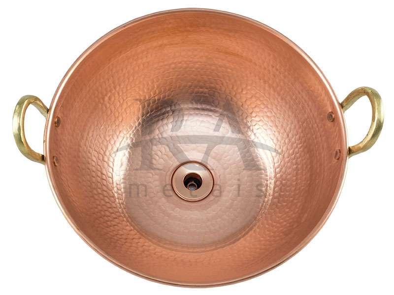 Cuba de apoio em cobre puro 8 lts com alças em liga de bronze
