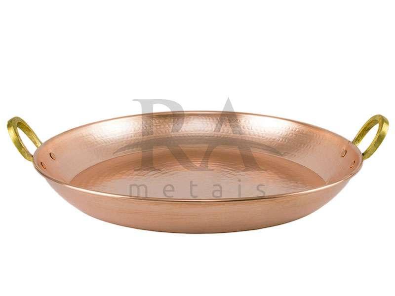 Paella em cobre puro nº 2 com alças em liga de bronze