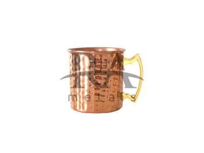 Caneca Moscow Mule 350 ml Em Cobre Puro Martelada Laqueada