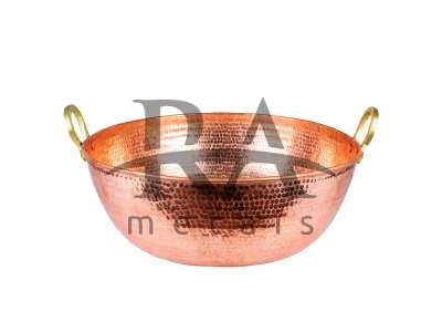 Tacho em cobre puro 60 lts com alças em liga de bronze. Lateral chapa 20, fundo chapa 18