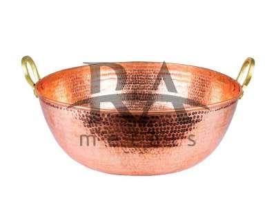 Tacho em cobre puro 100 lts com alças em liga de bronze. Lateral e fundo chapa 18