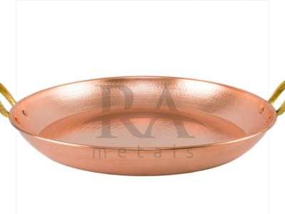 Paella em cobre puro nº 3 com alças em liga de bronze