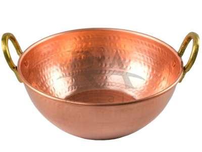 Tacho em cobre puro 2 lts com alças em liga de bronze