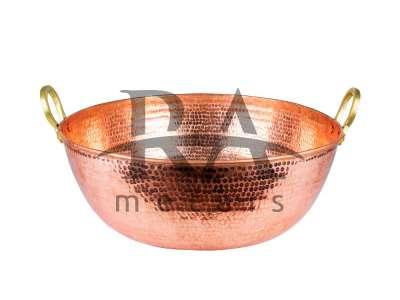 Tacho em cobre puro 80 lts com alças em liga de bronze. Lateral chapa 20, fundo chapa 18