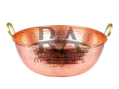 Tacho em cobre puro 150 lts com alças em liga de bronze. Lateral e fundo chapa 18